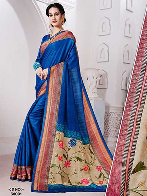 Blue Colored Manipuri Silk Saree with Beautiful Embroidered on Pallu