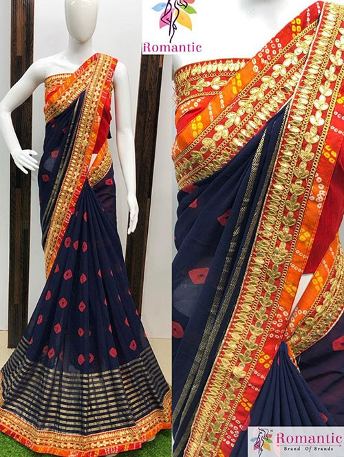 Blue Colored Nazneen Silk Saree With Gotapatti Bandhani Border