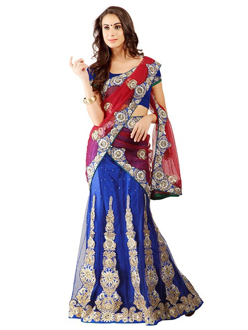 Blue Colored Net Lehenga with embroidered Net Dupatta
