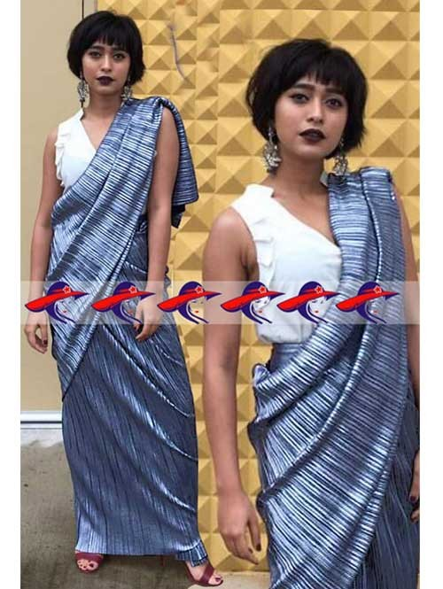 Blue Colored New Arrival Digital Printed Satin Saree in Best Qaulity