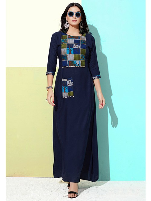 Blue Colored Printed A-Line Cotton Kurti Online