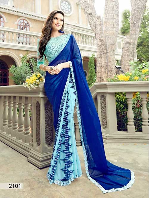 Blue Colored Printed chiffon and Faux Georgette Saree With Beautiful Blouse