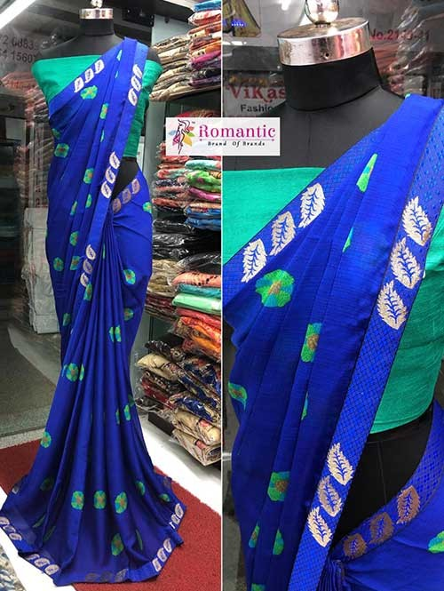Blue Colored Printed Moss Chiffon Saree With Beautiful Border