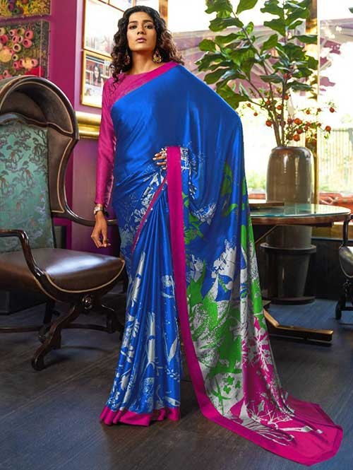 Blue Colored Printed Satin Japanese Crepe Saree in Best Qaulity - Kshwetlana
