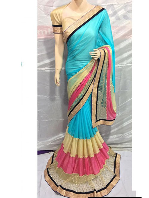 Blue Colored Pure Lycra Saree Has Beautiful Embroidered Border.