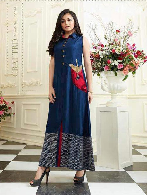 Blue Colored Satin Digital Printed Kurti