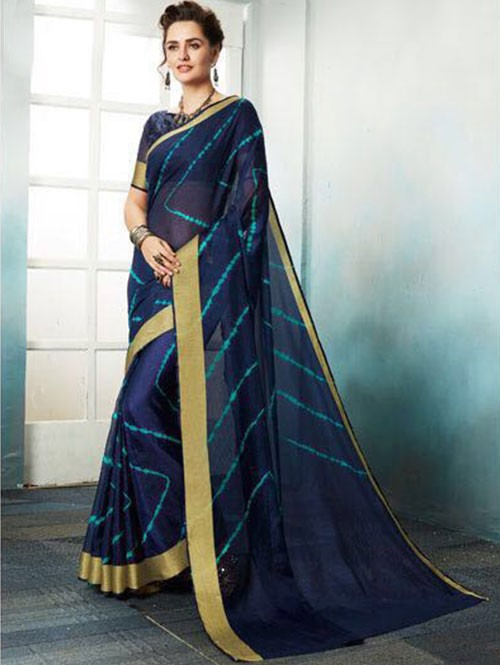 Blue Colored Shibori Printed Kota Silk Saree