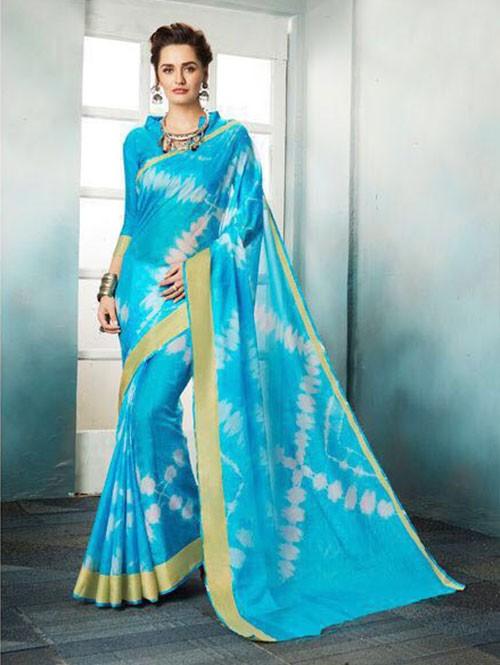 Blue Colored Shibori Printed Kota Silk Saree
