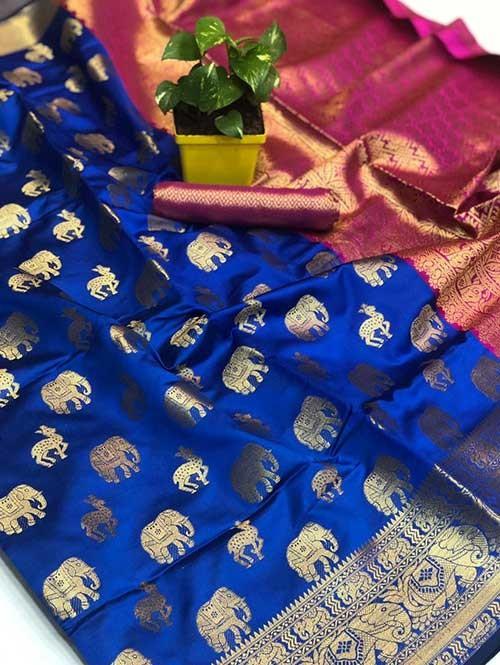 Blue Colored Soft Banarasi Silk Animal Butta Weaving Saree Online