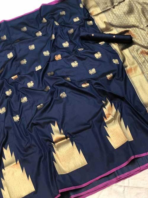 Blue Colored Soft Banarasi Silk Peacock Butta Saree Weaving Online