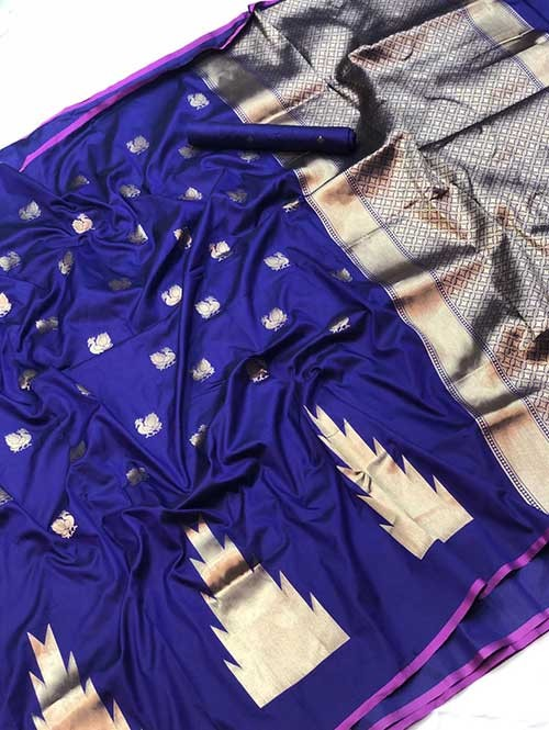 Blue Colored Soft Banarasi Silk Peacock Butta Saree Weaving Online