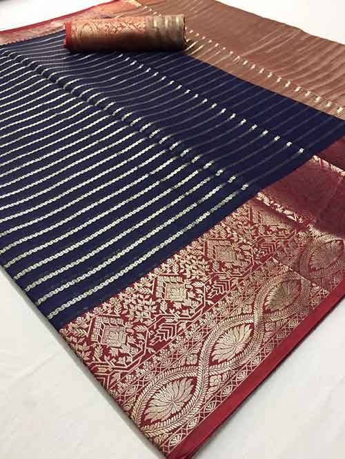 Blue Colored Soft Cotton Weaving Designer Saree - New Saree Design