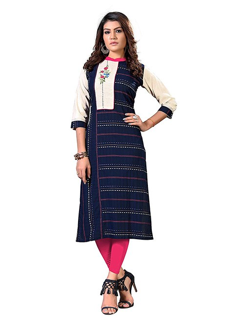 Blue Colored Straight Embroidered Cotton Kurti Online