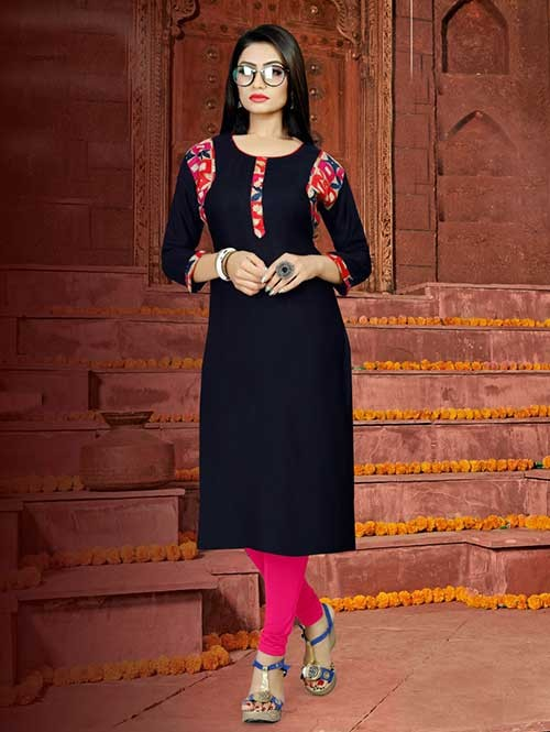 Blue Colored Straight Rayon Print Kurti Online