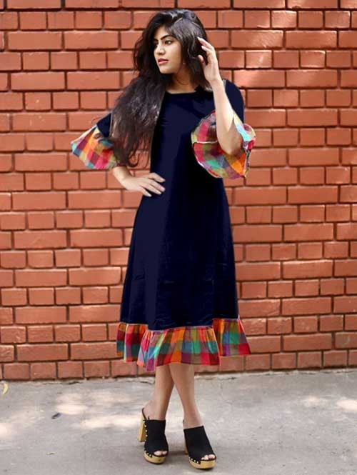 Blue Colored Straight South Cotton Kurti Online - Jingle Bell