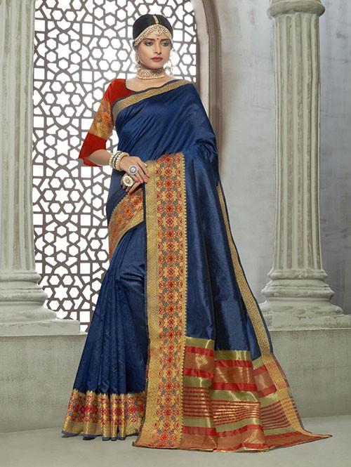 Blue Colored Zari Chex Cotton Silk Fancy Saree