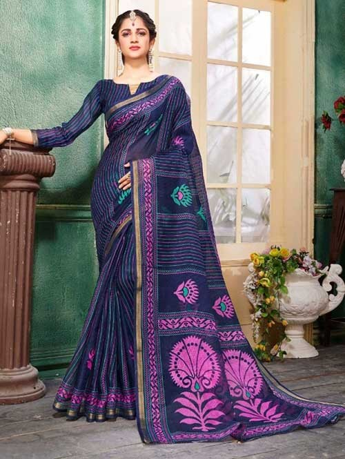 Blue Colored Zari Chex Cotton Silk Saree - Vinamrta