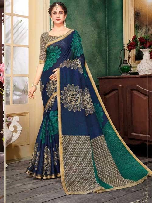 Blue Colored Zari Chex Cotton Silk Saree - Vinamrta