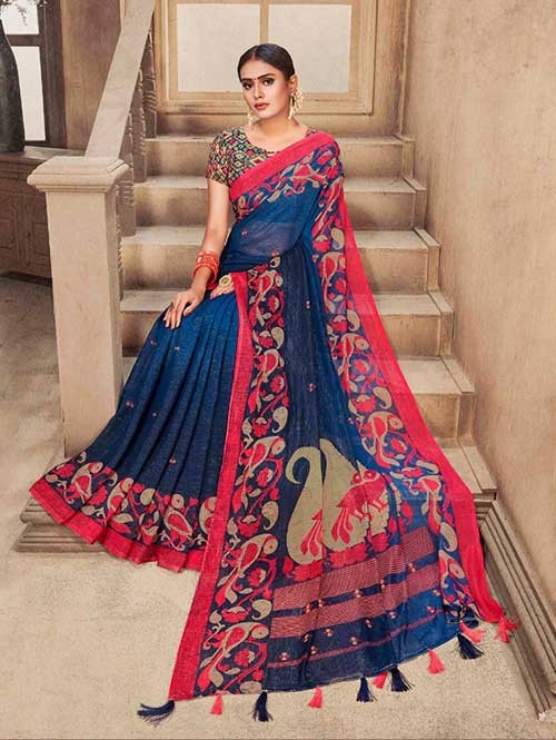 Blue Colored Zari Chiffon Blended Silk Fancy Saree