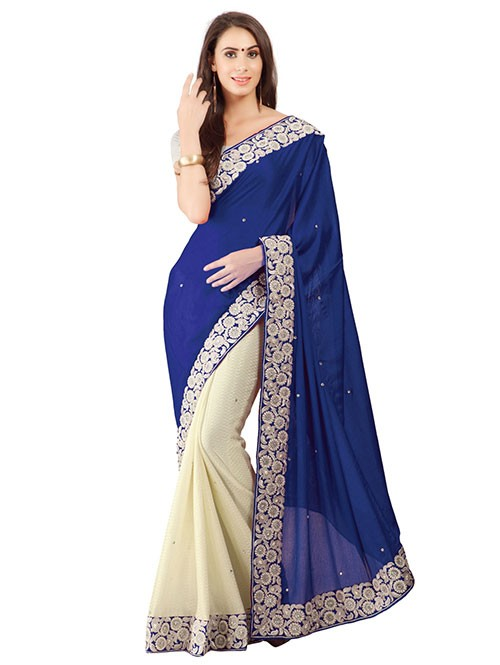 Blue Color Beautiful Embroidered Border Pure Crepe Silk Saree