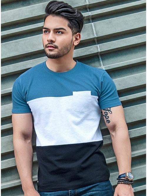 Blue & Off White Colour blocked Cotton T-shirt