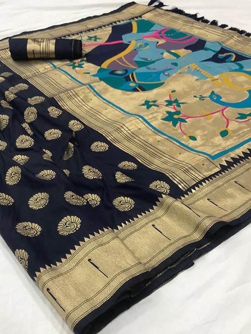 Blue Soft Pure Silk Paithani Weaving Rich Pallu Saree - gnp0108767