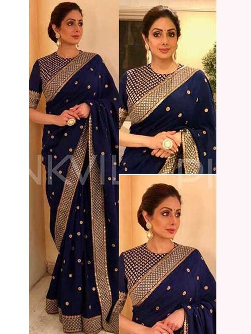 Bollywood Star Sri Devi Kapoor Blue Color Georgette Embroidery Saree