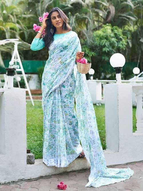 Branded Beautiful Digital Floral Printed Linen Saree - Elegance