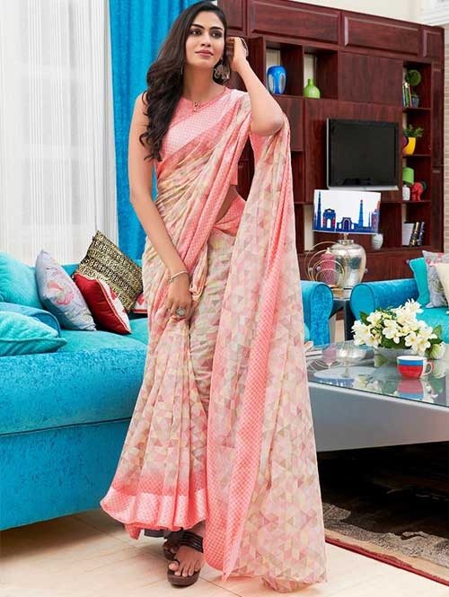 Branded Beautiful Digital Floral Printed Linen Saree - Sarika