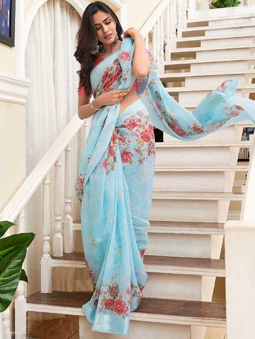 Branded Beautiful Digital Floral Printed Linen Saree - Sarika