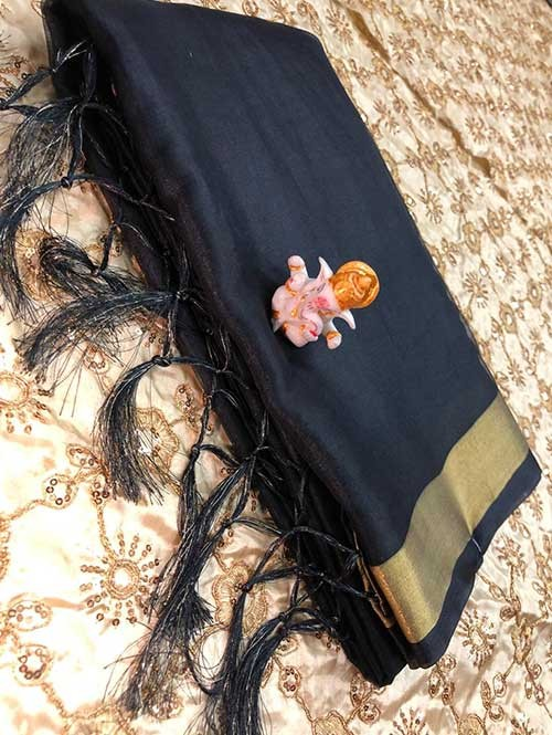 Branded Black Colored Beautiful Organza Saree With Heavy Worked Blouse