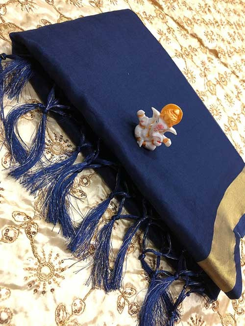 Branded Blue Colored Beautiful Organza Saree With Heavy Worked Blouse