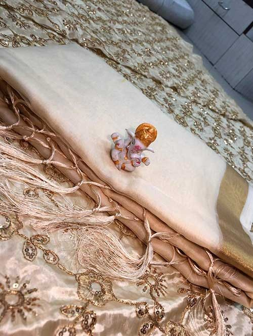 Branded Cream Colored Beautiful Organza Saree With Heavy Worked Blouse
