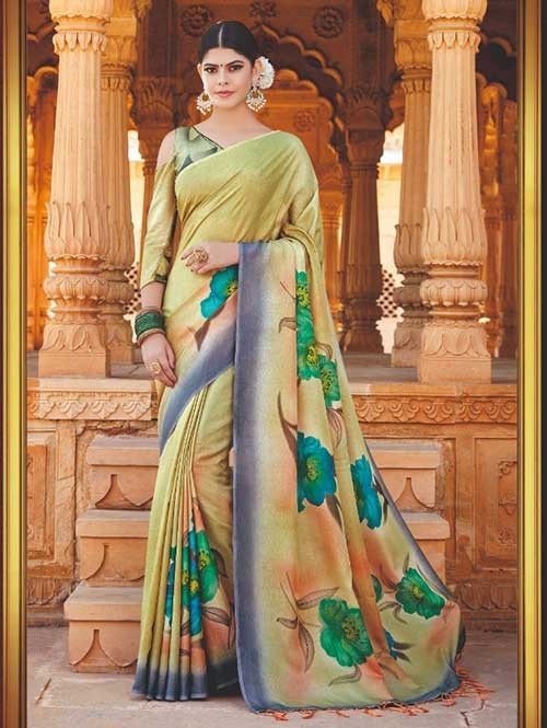 Branded Green Colored Beautiful Hand-Printed Tussar Silk Saree