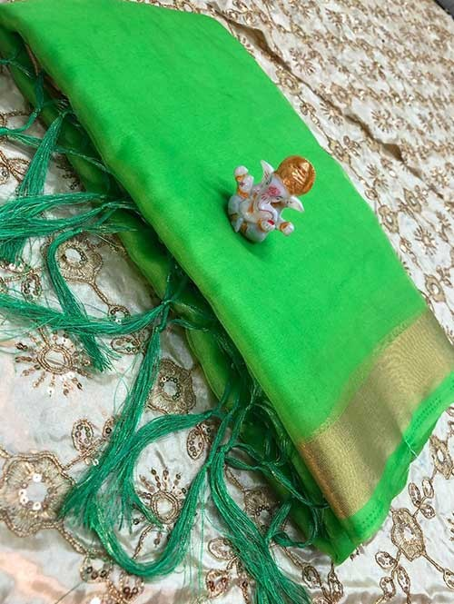 Branded Green Colored Beautiful Organza Saree With Heavy Worked Blouse