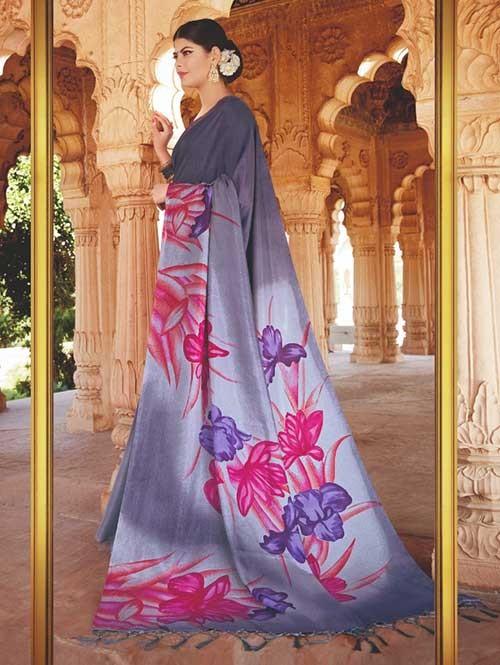 Branded Grey Colored Beautiful Hand-Printed Tussar Silk Saree