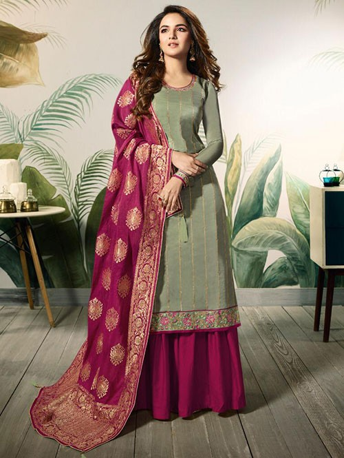 Branded Jasmin Bhasin Green Colored Heavy Embroidered Modal Satin Silk Sharara Suit - Amirah