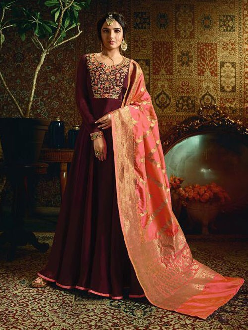 Branded Jasmin Bhasin Maroon Colored Heavy Embroidered Faux Georgette/Satin Blend Anarkali Suit - Amirah