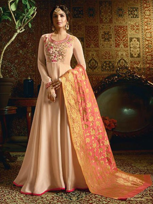 Branded Jasmin Bhasin Peach Colored Heavy Embroidered Faux Georgette/Satin Blend Anarkali Suit - Amirah