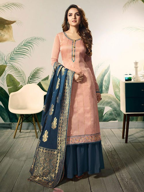 Branded Jasmin Bhasin Peach Colored Heavy Embroidered Modal Satin Silk Sharara Suit - Amirah