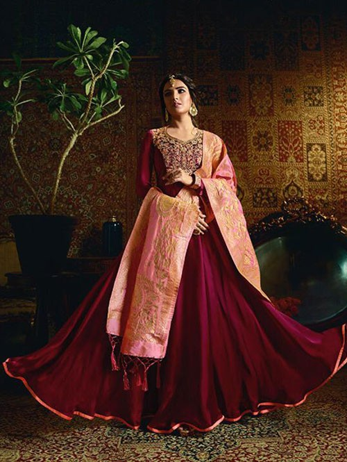 Branded Jasmin Bhasin Pink Colored Heavy Embroidered Faux Georgette/Satin Blend Anarkali Suit - Amirah