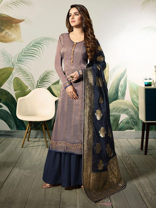 Branded Jasmin Bhasin Purple Colored Heavy Embroidered Modal Satin Silk Sharara Suit - Amirah