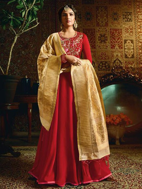 Branded Jasmin Bhasin Red Colored Heavy Embroidered Faux Georgette/Satin Blend Anarkali Suit - Amirah