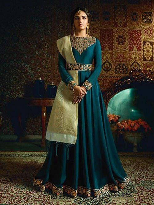 Branded Jasmin Bhasin Sea Green Colored Heavy Embroidered Faux Georgette/Satin Blend Anarkali Suit - Amirah