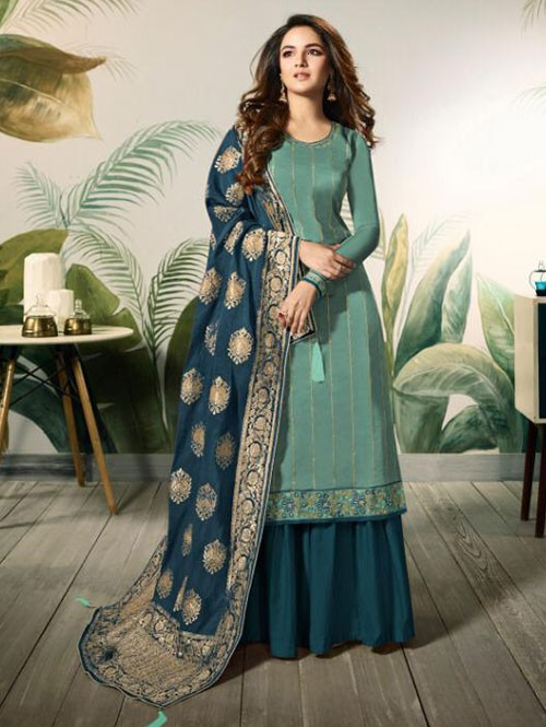 Branded Jasmin Bhasin Sea Green Colored Heavy Embroidered Modal Satin Silk Sharara Suit - Amirah
