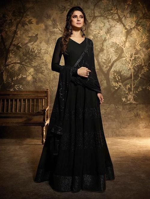 Branded Jennifer Winget Black Colored Heavy Embroidered Georgette Gown - Memsaab