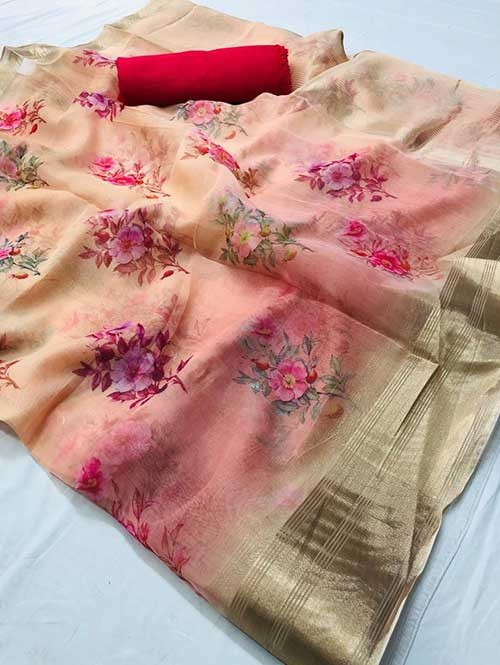 Branded Multi Colored Beautiful Printed Organza Saree - Elite