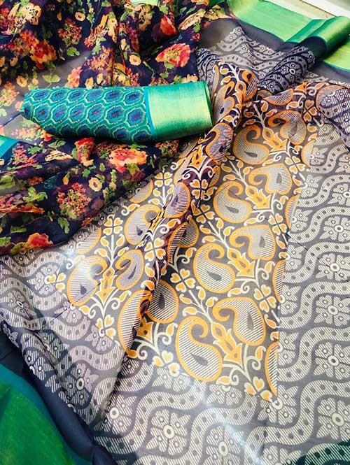 Branded Multi Colored Beautiful Printed Organza Saree