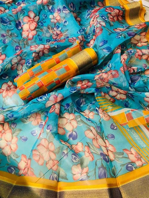 Branded Multi Colored Beautiful Printed Organza Saree (