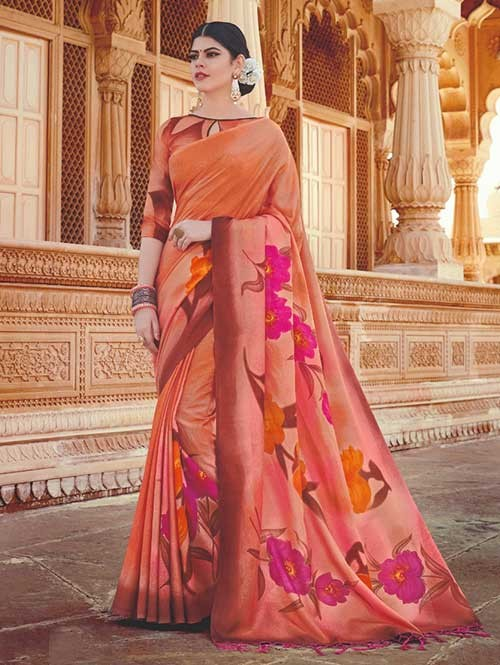 Branded Orange Colored Beautiful Hand-Printed Tussar Silk Saree